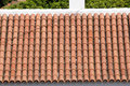 Background ornament terracotta red tiles on roof in Tenerife, Canarian island Royalty Free Stock Photo