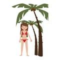 Background palms with woman in bikini