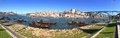 Background panorama landscape postcard promenade Vila Nova de Gaia  overlooking the River Duoro, Bridge of Don Luis Royalty Free Stock Photo