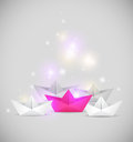 Background with paper boat vector abstract boats Stock Photos