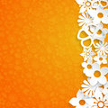 Background with paper flowers orange cut out of white Stock Photos
