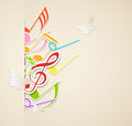 Background with paper notes music butterflies and Stock Photo