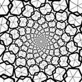Background, pattern, black and white spiral pattern. Round centered Halftone illustration. Hexagon, honeycomb, honey, center