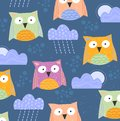 Background pattern of cute little owls with clouds and rain and a peeping moon over a blue background in square format