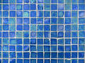 Background Pattern of Turquoise and Blue Glass Tiles Stock Photo