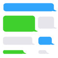 Background phone sms chat bubbles in grey blue green colors Royalty Free Stock Photo