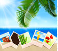 Background with photos from holidays on a seaside Stock Photo