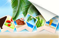 Background with photos from holidays on a seaside Royalty Free Stock Photo