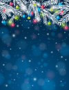 Background with pine twig and christmas ball ve vector illustration Royalty Free Stock Photography