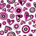 Background with pink hearts and circles Stock Photos
