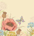 Background with poppy vector floral red and butterfly Royalty Free Stock Images