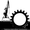 Background with port crane banner silhouette of the stylized in black and white colors Stock Photography