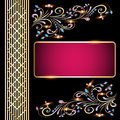 Background with precious stones gold pattern for invitation illustration Royalty Free Stock Photos