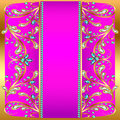 Background with precious stones gold and a stripe pattern illustration Royalty Free Stock Images