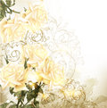 Background with pretty beige roses in vintage style Royalty Free Stock Photography