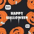 Background with pumpkins and text. Happy Halloween