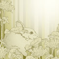 Background with rabbit in the flowers this illustration may be useful as designer work Stock Photos