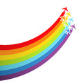 Background with rainbow airplanes Stock Photo