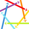 Background with rainbow airplanes Stock Photography
