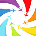 Background with rainbow airplanes vector illustration Royalty Free Stock Photos