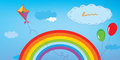 Background with rainbow sky kite and balloons for kids Royalty Free Stock Photos