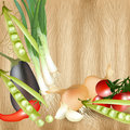 Background with realistic vector vegetables on wooden table mix of eggplant tomato onion pears texture Stock Photography