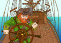 Background with red beard captain on sailing ship deck pirate holding wheel ships hand drawn illustration Royalty Free Stock Photography