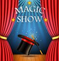 Background with a red curtain and a spotlight with Realistic magic hat with magic wand for magic show .