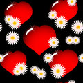 Background with red glass hearts and flowers Royalty Free Stock Photo
