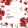 Background with Red hot chili peppers isolated Royalty Free Stock Photo