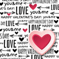 Background with red valentine heart and wishes te text vector illustration Stock Photos