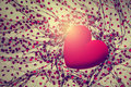 Background with red velvet heart Royalty Free Stock Photo
