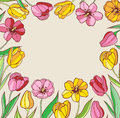 Background with red and yellow tulips vector floral Stock Photos