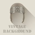 Background of retro aviator pilot or biker helmet with goggles vintage vector illustration Stock Images