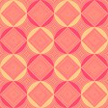 Background with rhombuses and circles of pink and light brown colors, seamless pattern, vector