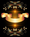 Background with ribbon and golden ornament Royalty Free Stock Photo