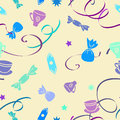 Background with ribbons cups and sweets seamless texture vector illustration Stock Photo