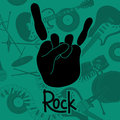 Background with rock and roll sign hand in on a of musical instruments Stock Image