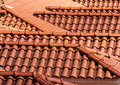 Background of roof tiles pattern red Royalty Free Stock Images