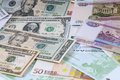 Background from roubles, dollars and euro. Royalty Free Stock Photo