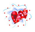 Background with ruby hearts Royalty Free Stock Photo