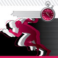 Background with runners and stop watch Stock Photos