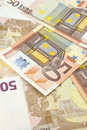 Background of scattered 50-euro banknotes. Royalty Free Stock Image