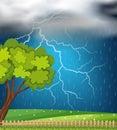 Background scene with thunder and rainstorm