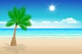 Background sea sand and coconut trees illustration summer Stock Photos
