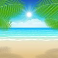 Background sea sand and coconut trees illustration summer Stock Images