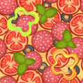 Background seamless pattern pepperoni pizza with tomato and salami