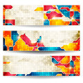 Background set of horizontal banners with a geometrical ornament Stock Photos
