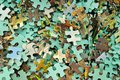 Set of Jigsaw puzzle color background. Royalty Free Stock Photo
