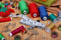 Background with sewing items Royalty Free Stock Photo